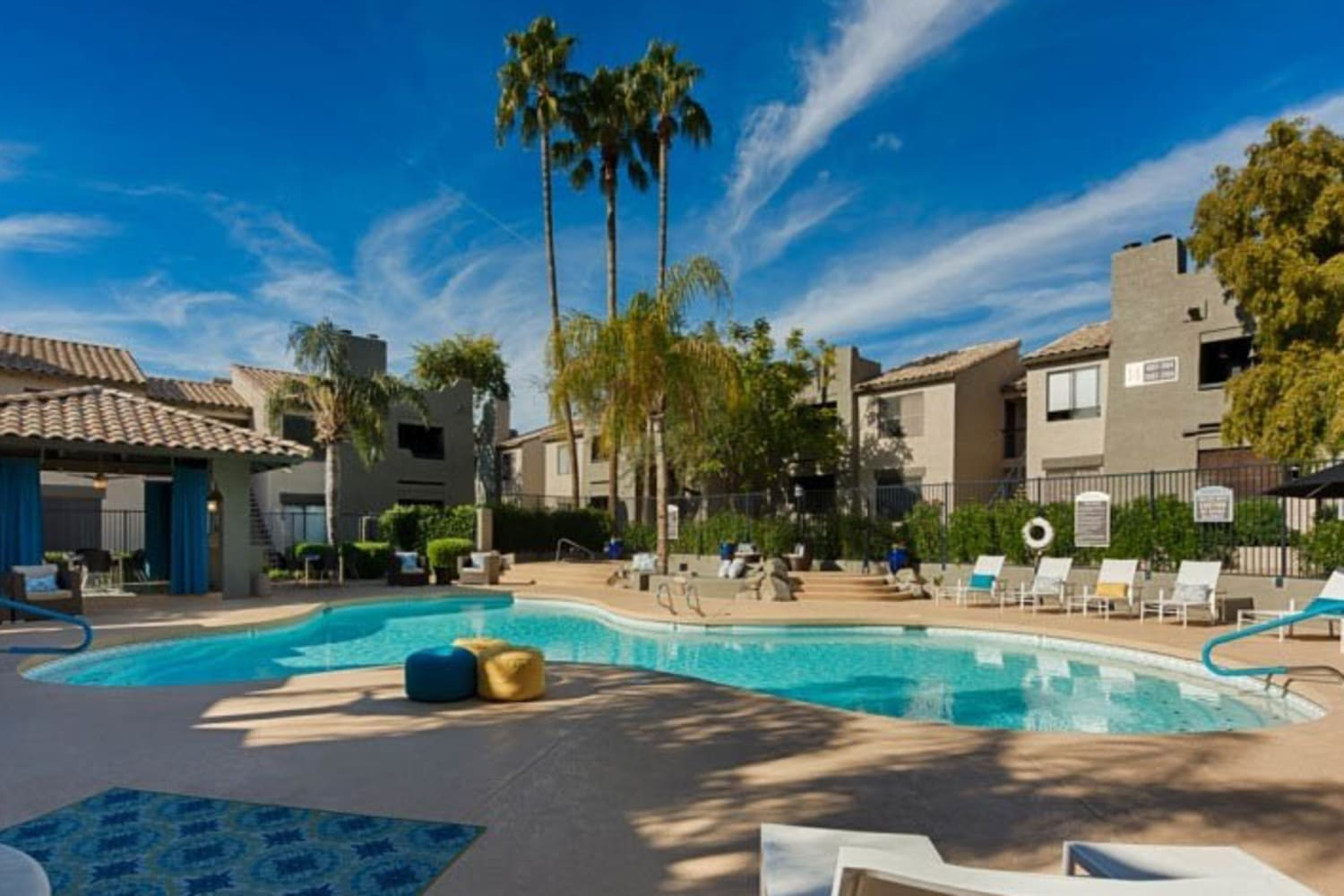 Sparkling swimming pool at Cabrillo Apartments in Scottsdale, Arizona