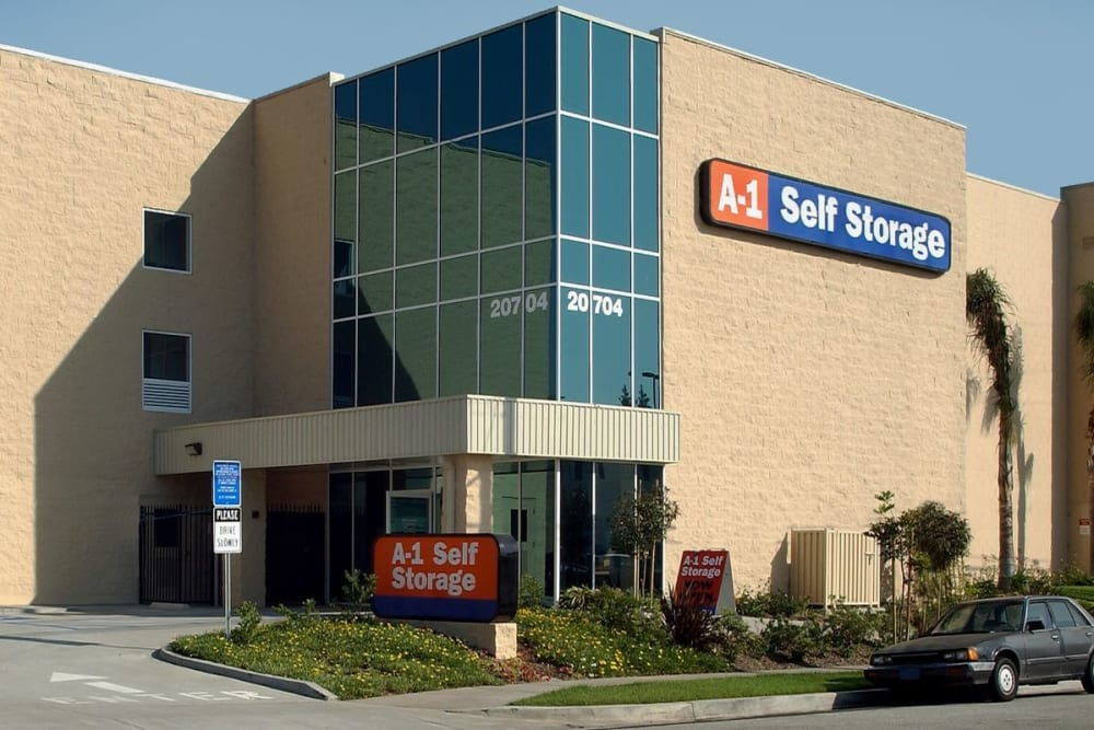 The front entrance to A-1 Self Storage in Torrance, California