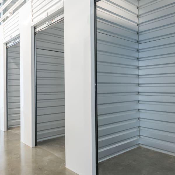 Open indoor storage units at StorQuest Self Storage in Portland, Oregon
