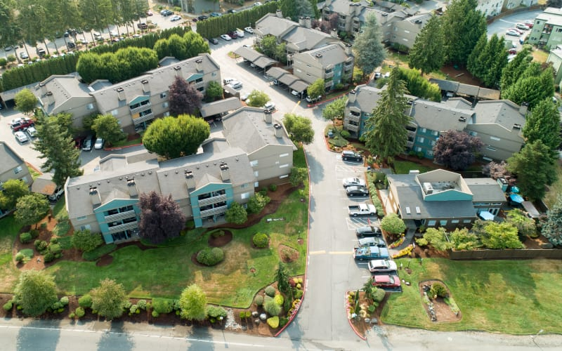 Aerial view of property at Latitude Apartments in Everett, Washington