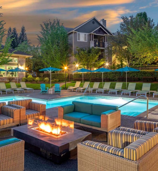 Beautiful pool and outdoor seating area at The Grove at Orenco Station in Hillsboro, Oregon