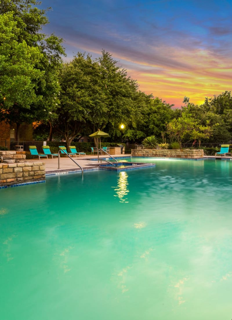 Pool at sunset at Brooks on Preston in Plano, Texas