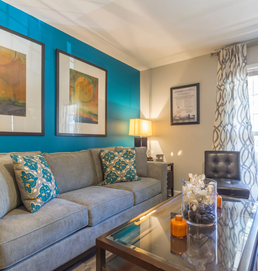 The Square at Mason Mill Apartments offers a spacious living room in Decatur, Georgia