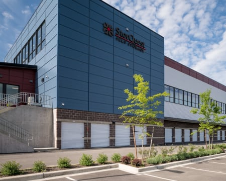 View of the self storage facility at StorQuest Self Storage in Redmond, Washington