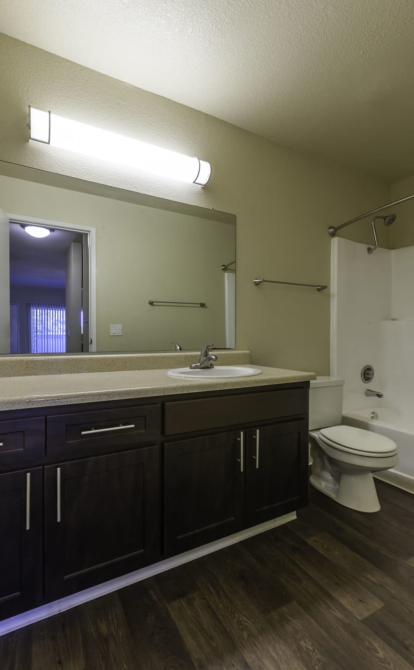 bathroom at The Timbers Apartments in Hayward, CA