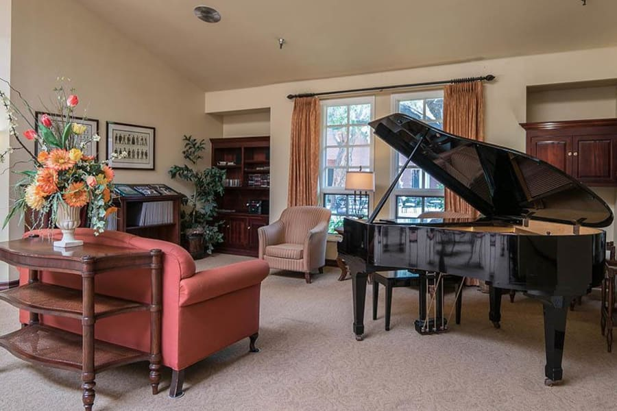 Grand piano in the lobby at Carmel Village in Fountain Valley, California