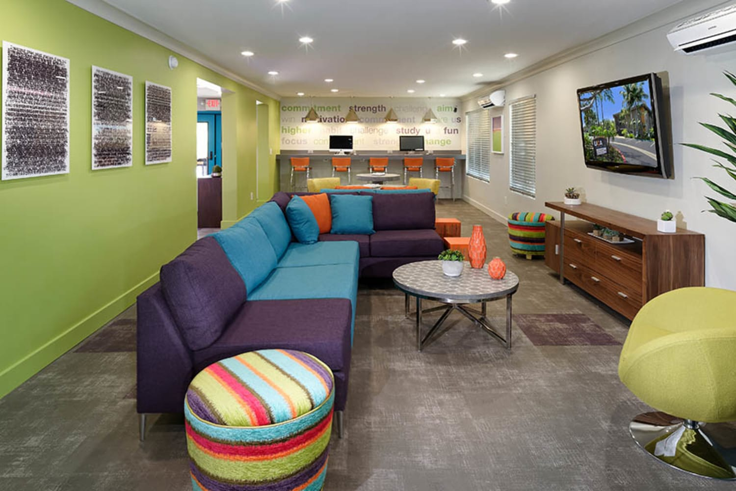 UCA Apartment Homes in Fullerton, California, offer a colorful and fun clubhouse