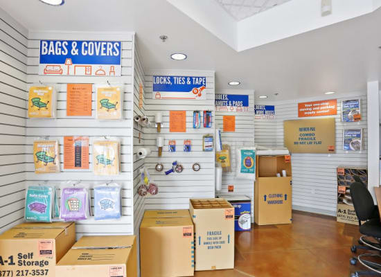 Moving supplies at A-1 Self Storage in Lakeside, California