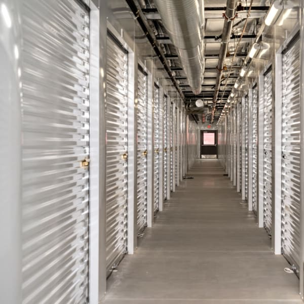 Climate-controlled indoor storage units at StorQuest Self Storage in Fresno, California
