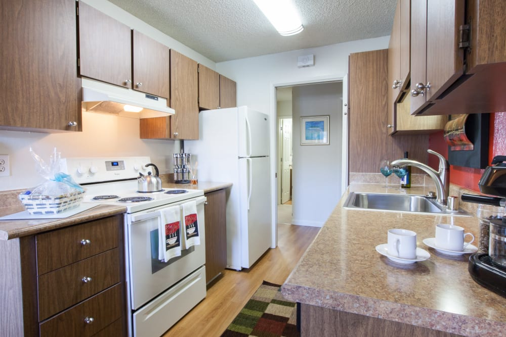 Spacious kitchen at Valley West Apartments in San Jose, California
