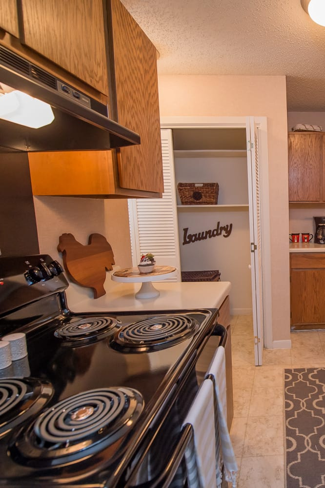 Bright kitchen at The Mark Apartments in Ridgeland, Mississippi