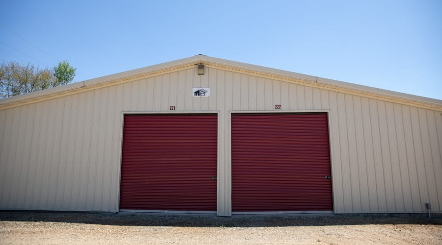 Outdoor storage units with brown doors at KO Storage of Tomah - McCoy in Tomah, Wisconsin