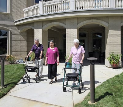 Residents having a walk at Tranquility Estates in Grand Blanc, Michigan