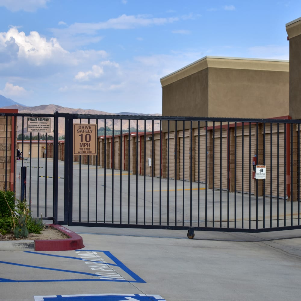 The secure front gate at STOR-N-LOCK Self Storage in Redlands, California
