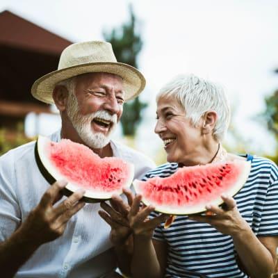 Residents enjoying some watermelon at Aurora on France in Edina, Minnesota.
