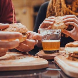 Residents eating at restaurant near Regency Pointe in Forestville, Maryland