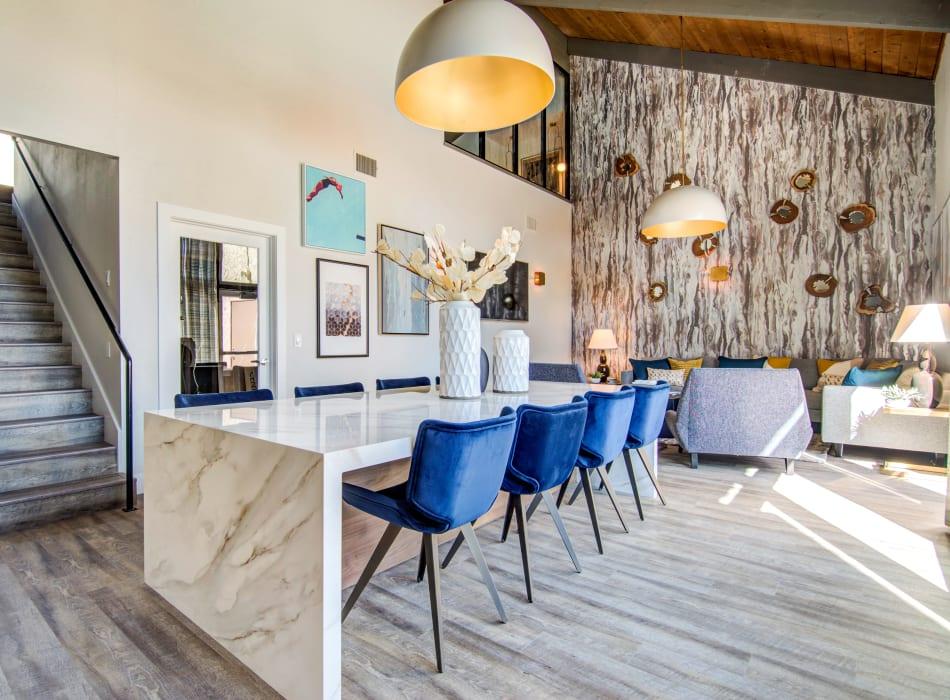 Avante garde decor in the leasing office lounge at Veranda La Mesa in La Mesa, California