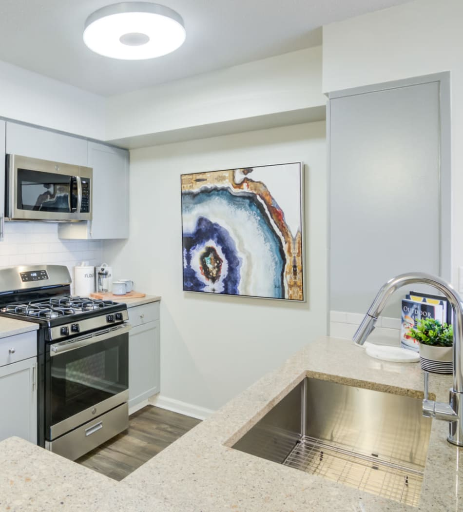 Modern kitchen with granite countertops in a model home at Sofi at 50 Forest in Stamford, Connecticut