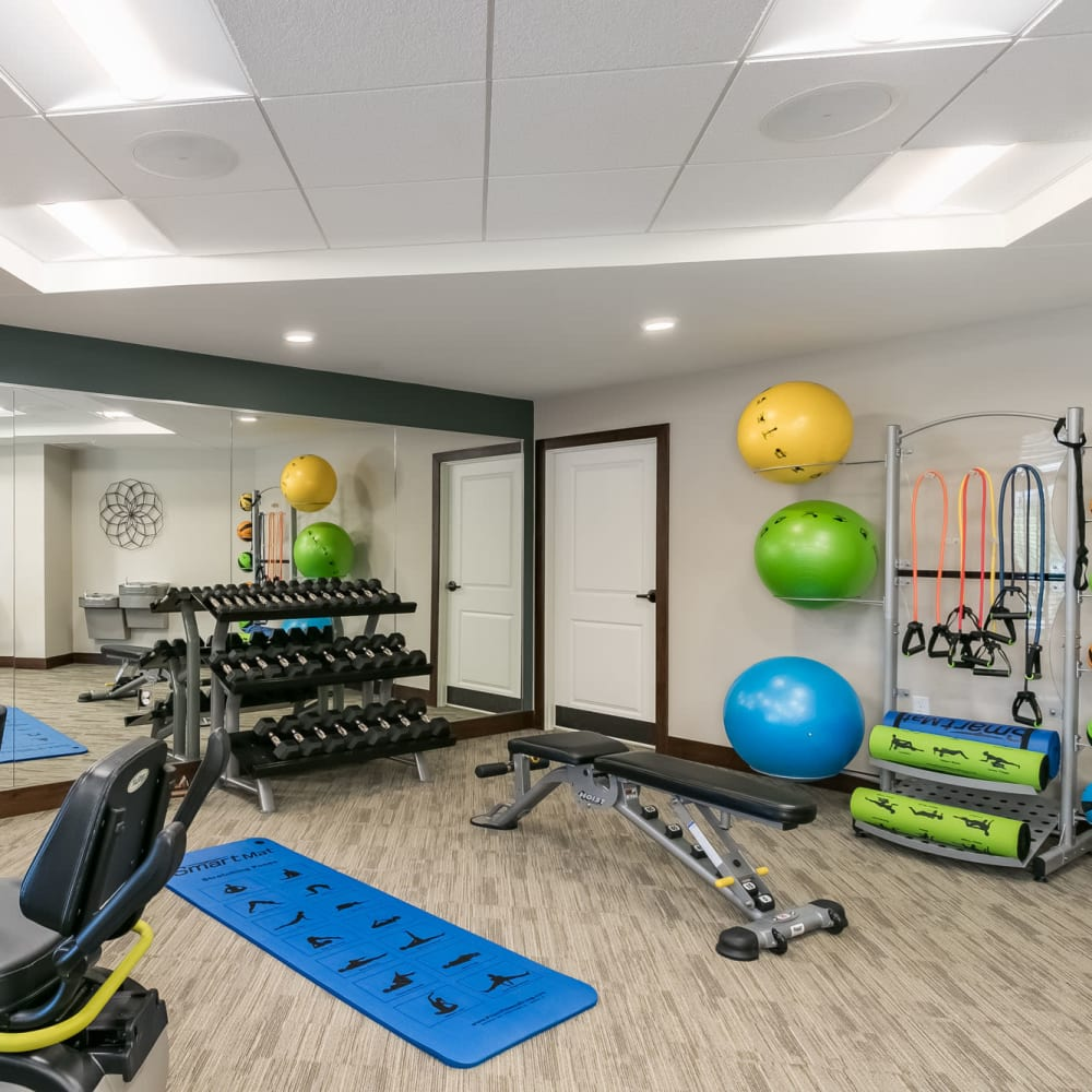 Fitness room at Applewood Pointe of Westminster in Westminster, Colorado.