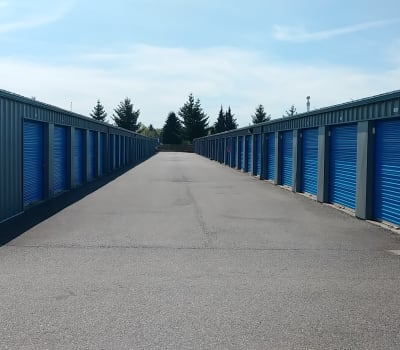 Clean exterior storage units at Glacier West Self Storage in Washington