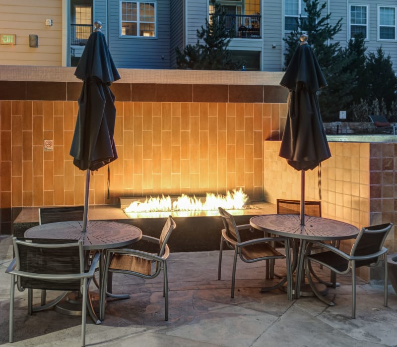 Outdoor patio with a gas fire pit at The Marq at Ridgegate in Lone Tree, Colorado