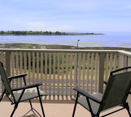 Balcony view of the bay at Tower Apartment Homes in Alameda, California