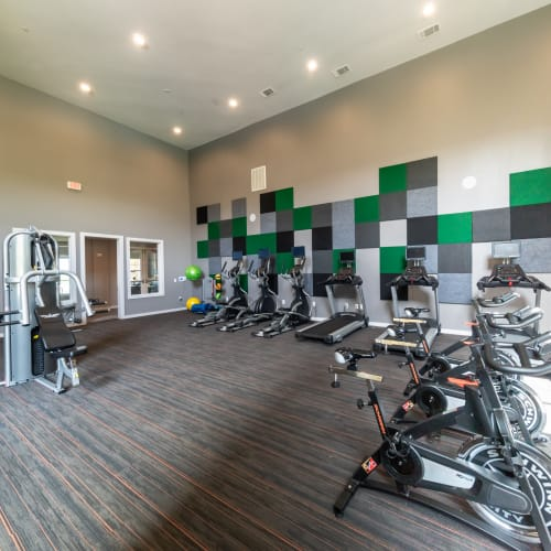 View virtual tour of our fitness center at Haven at Liberty Hills in Houston, Texas
