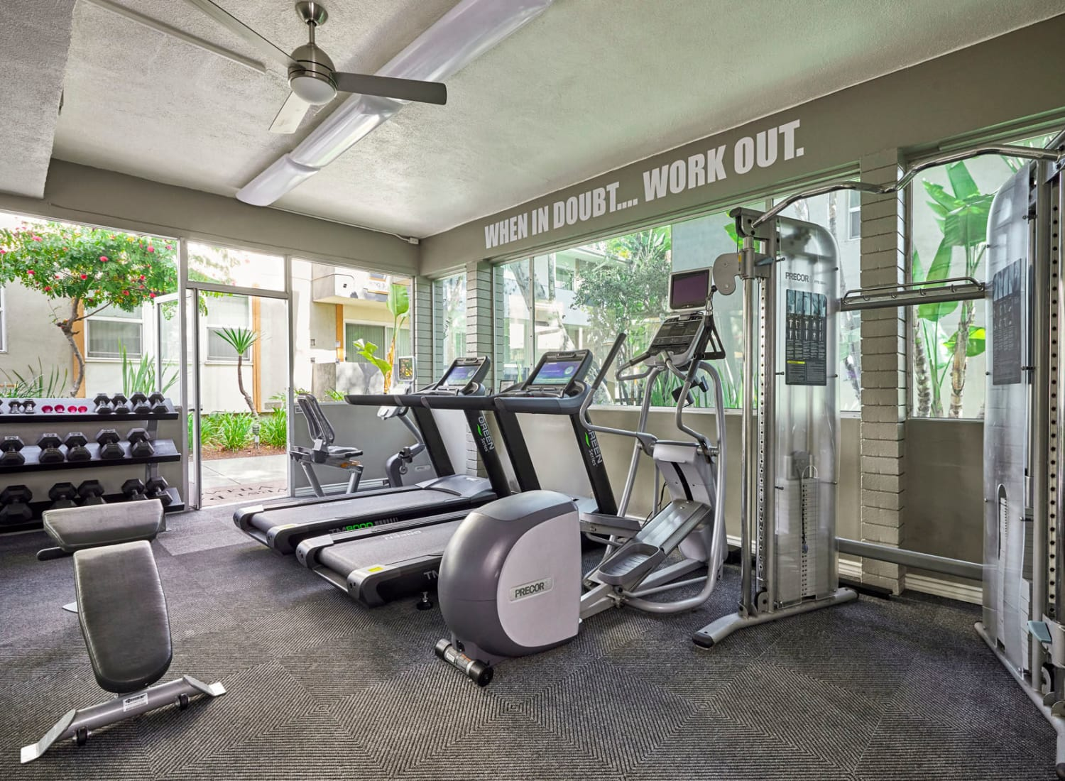 Well-equipped onsite fitness center at West Park Village in Los Angeles, California