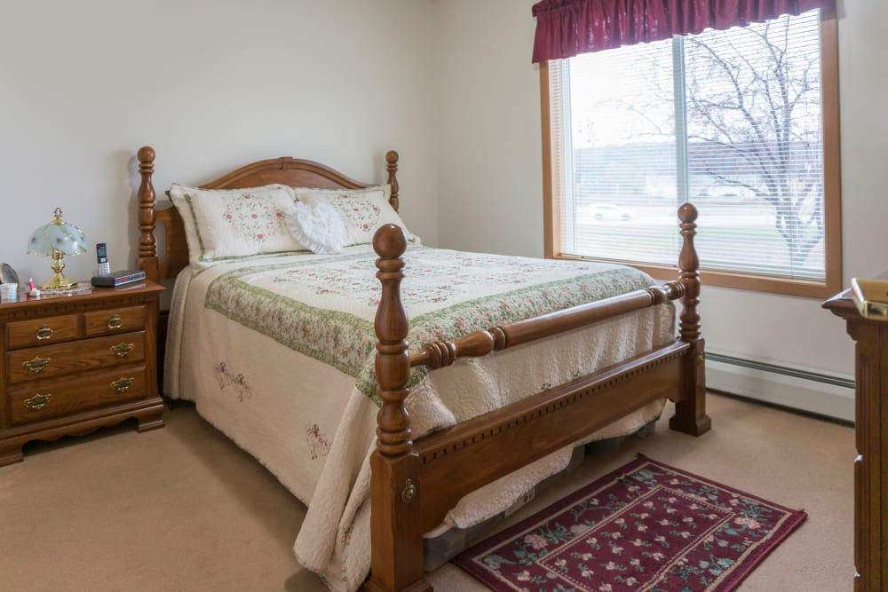 Resident bedroom at Meadow Lakes Senior Living in Rochester, Minnesota.