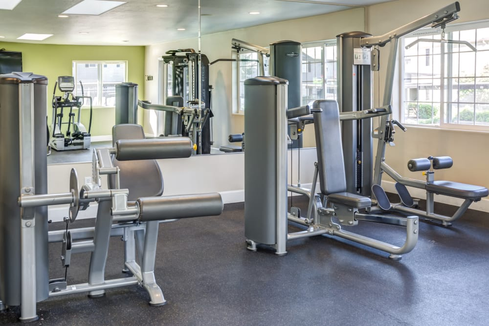 Exercise equipment at Madison Park Apartments in Vancouver, Washington