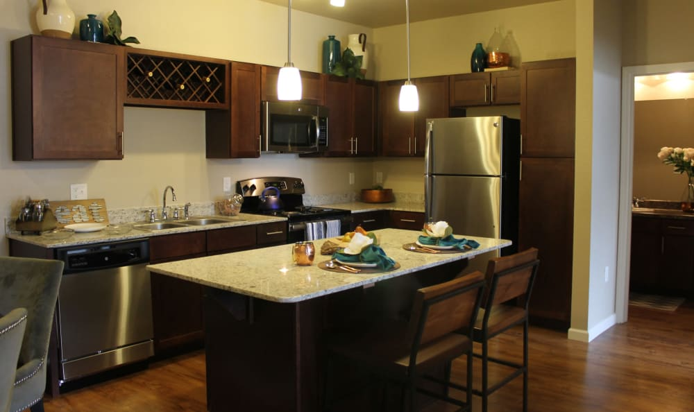 Modern Kitchen at Springs at Cottonwood Creek Apartments In Waco