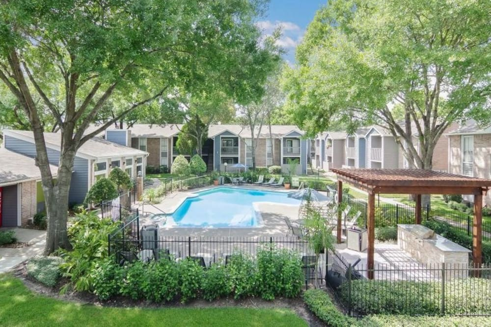 Refreshing pool for residents to cool off in on a hot day at Vantage Point in Houston, Texas