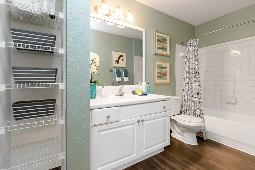 Bathroom with storage on the door and wood style flooring at The Avenue in Ocoee, Florida