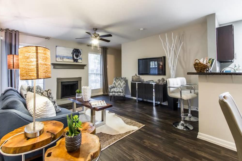 Model living and dining room at Carmel Creek in Houston, Texas