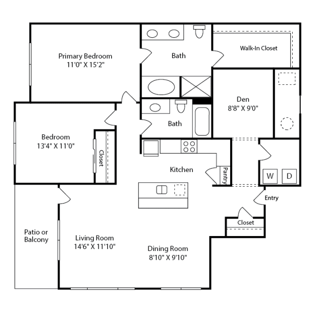 Spacious two-bedroom with Den Hawthorne Layout at Iron Works Village near Denver, Colorado