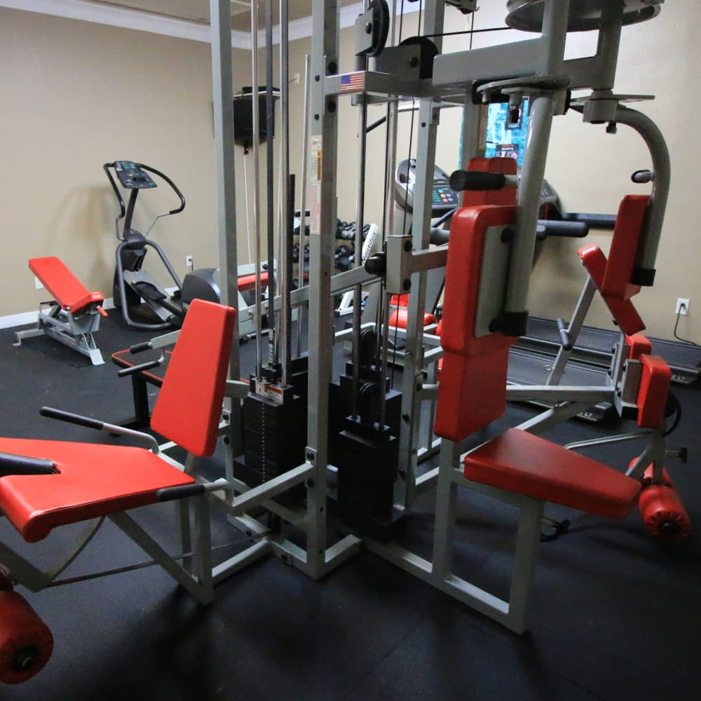 Well-equipped onsite fitness center at Oaks Estates of Coppell in Coppell, Texas