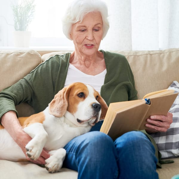 A woman with her dog reading a book at The Crest at Citrus Heights in Citrus Heights, California