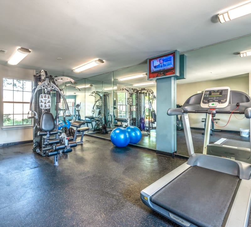 Fully equipped fitness center at Lane at Towne Crossing in Mesquite, Texas