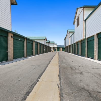 Outdoor ground floor units at Market Place Self Storage in Park City, Utah