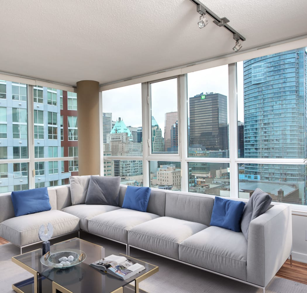 Large living room windows at Metropolitan Towers in Vancouver