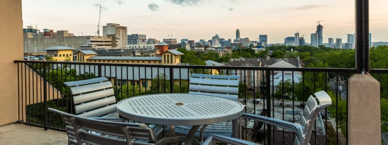 Patio table at Regents West at 24th in Austin, Texas