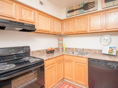 Spacious kitchen at Monarch Crossing Apartment Homes in Newport News, Virginia