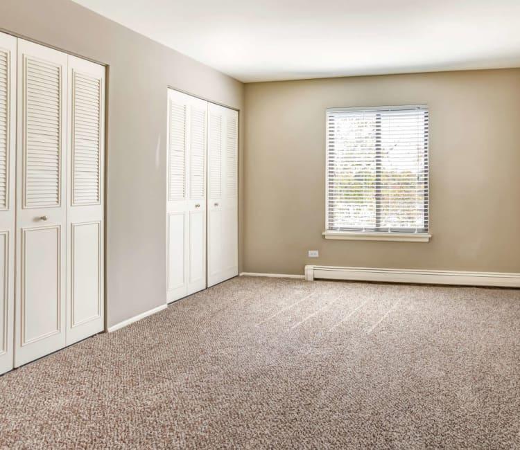 /Spacious master bedroom with plush carpeting at Lakeside Apartments in Wheaton, Illinois
