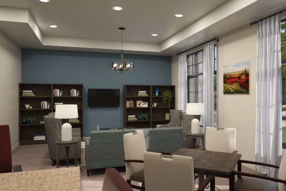 The library with comfortable seating at Anthology of Midlothian in North Chesterfield, Virginia