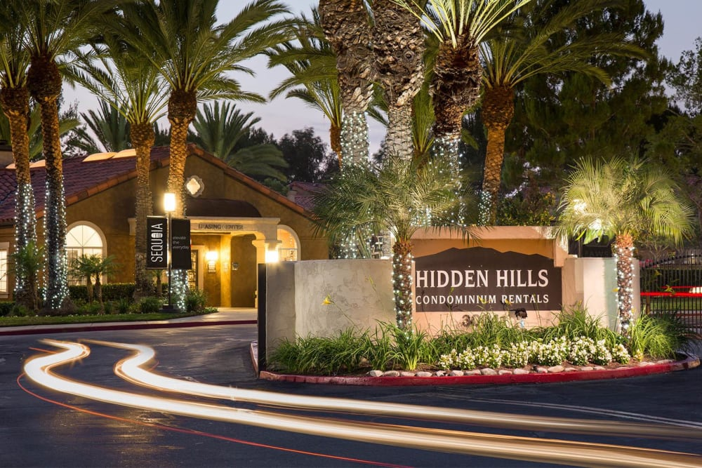 Beautifully manicured front entrance to the clubhouse at Hidden Hills Condominium Rentals in Laguna Niguel, California