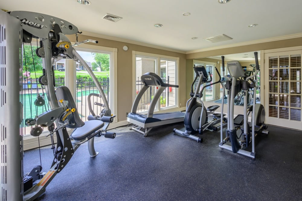 Plenty of workout stations at the onsite fitness center at The Hamilton in Hendersonville, Tennessee
