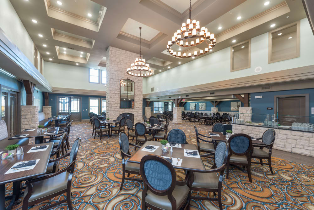 A beautiful dining hall at Watercrest at Katy in Katy, Texas