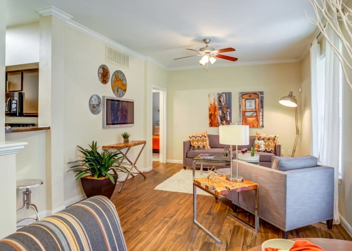 Parc @ Champion Forest showcases a cozy living room in Houston, Texas
