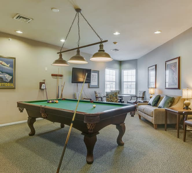 The billiards table at Town Village in Oklahoma City, Oklahoma