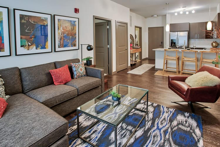 Cozy living room at apartments in Pittsburgh, Pennsylvania